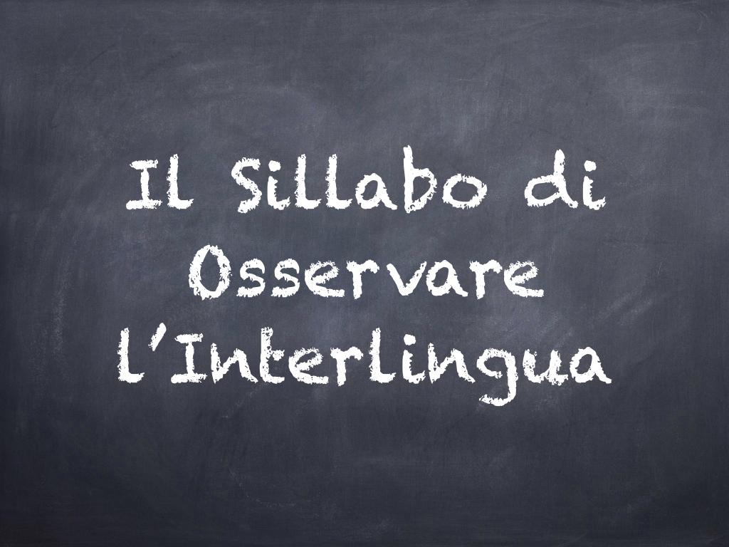 Il Sillabo di Osservare l'Interlingua